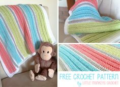 Baby Blanket | Free Crochet Pattern by Little Monkeys Crochet | The ridged rows and bold colors make this modern, contemporary baby blanket the perfect project for your next baby shower. And, it's beginner-friendly!