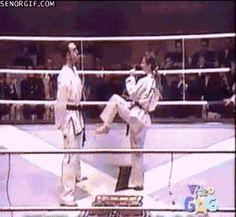 Karate demonstration of high kicks.