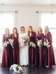 burgundy maxi bridesmaids