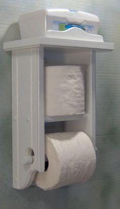 Toilet paper holder white shelf and second roll shelf