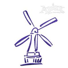 """Windmill Embroidery Design. Size: 2.33"""" x 1.79"""""""