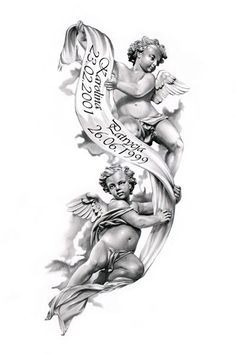 Angels tattoo design by ca5per--beautiful for passing of grandparents.::