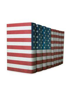 American Flag Books (Set of 9) by Juniper Books LLC at Gilt  George Washington, Thomas Jefferson, Alexander Hamilton, Edgar Allen Poe, Mark Twain, F. Scott Fitzgerald, William Faulkner, John Steinbeck, Robert Frost.