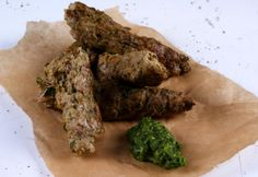 Spiced Lamb Kebabs, Green Salsa