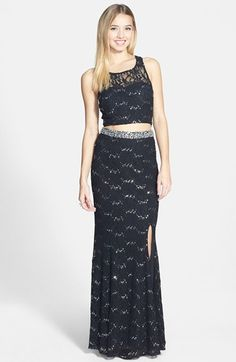 Speechless+Glitter+Lace+Embellished+Two+Piece+Dress+(Juniors)+available+at+#Nordstrom
