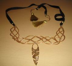 necklace: Brazilian Golden Grass and Black Velvet