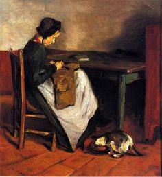 Girl Sewing with Cat | Max Liebermann, 1847-1935 was a German-Jewish painter and printmaker, and one of the leading proponents of Impressionism in Germany.