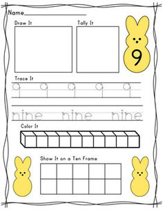 Peep themed number recognition pack.  Composing numbers 1-10