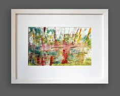 TITLE: by the lake  This image in 100 per cent is painted by hand, mixed media, oil, painted  on the high quality, glossy chalk overlay paper.  Very beautiful colors are mixing, creating the unique image.   Picture closed in the frame. Red, orange, green, blue colors provide a unique picture. Perfect for a unique gift .  The image contains the signature and the authenticity certificate.  Size of the painting image 11 x 6,7 inches 28 x 17,1 cm
