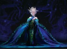 Ursula costume from the Broadway show. I like the color scheme, but if I was going to make and wear something like this, I would need a much smaller dress.