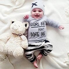 Kids Clothes Baby Girl Clothes Children's Sets Hat T-shirt Pants Striped Leggings Cotton Newborn Baby Boys Outfits Baby Boy Clothing Sets, Funny Baby Clothes, Baby & Toddler Clothing, Funny Babies, Kids Clothing, Toddler Boy Outfits, Toddler Boys, Kids Outfits, Baby Girls
