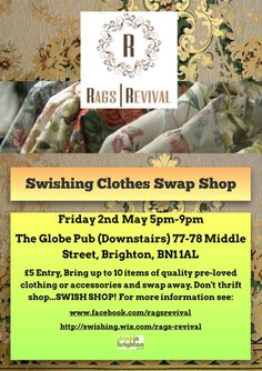 Next Rags Revival Event May 2nd 2014 - The Globe Brighton, 5-9pm £5 Entry Bring up to 10 items!