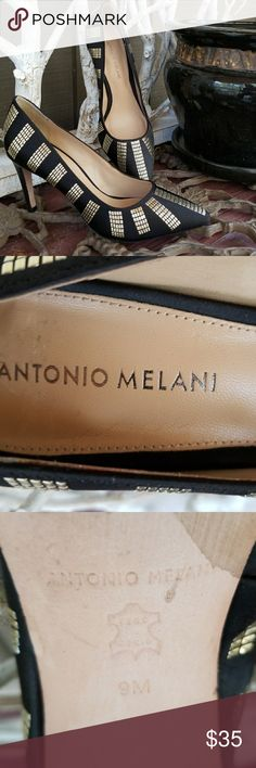 """Antonio Melani Heels Antonio Melani Heels. Leather sock and sole with a 4"""" heel.  This 9M shoe has gold metal embellishments from heel to toe. Antonio Melani Shoes Heels"""