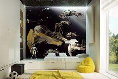 Camerette per ragazzi con pareti decorate n.17