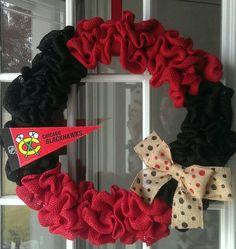 This burlap #Blackhawks wreath will look great on any door!