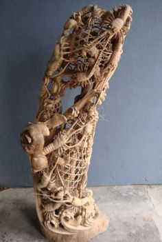 Camphor wood Fish sculpture in general sculpture by artist SM Chen titled: '2 Layer Carving (Basket with Lobster and Crabs sculpture/statue)'