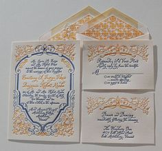 Letterpress Wedding Invitation Francese Uno by SmallPrinter