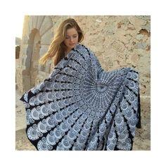 Black White Feather Mandala Roundie Beach Throw Wall Hanging Bedspread – TheNanoDesigns