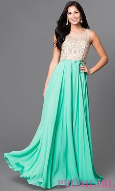 Image of formal long prom dress with lace-applique bodice. Style: NA-8252 Detail Image 2