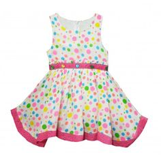 Bella Moda Girls Cotton Summer Frock (White & Pink) #summerdresses #dressesforgirls #babyfrocks