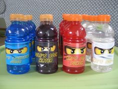 Here are some little details from Henry's Ninjago party.   We made invites on the computer.   I found a free Lego font here .     Changed G...