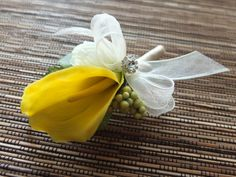 Yellow Calla Lily Boutonniere Yellow Calla Lily by LoveMimosaFleur, $10.50