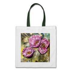 Cute Pink Poppies Canvas Bags ($10.95)  #poppybag #poppy