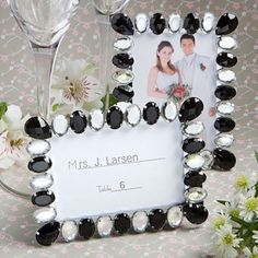 Black and White Shimmering Bling Place Card Frame