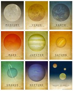 This listing is for nine 11 inch x 14 inch prints from my Solar System astronomy series. This listing includes: (1) 11x14 Mercury print (1) 11x14 Venus print (1) 11x14 Earth (1) 11x14 Mars print (1) 11x14 Jupiter print (1) 11x14 Saturn print (1) 11x14 Uranus print (1) 11x14 Neptune print (1) 11x14 Dwarf Planets print These are printed on Kodak Professional Digital Paper and have a standard archival value of 100 years. (This listing is for the prints only and they do not come matted or fra...