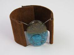 Bariloche Glass Leather Cuff: Artisan Jewelry Collection  by Arova Studio