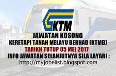 Jawatan Kosong Keretapi Tanah Melayu Berhad (KTMB) - 05 Mei 2017  Jawatan kosong terkini di Keretapi Tanah Melayu Berhad (KTMB) Mei 2017. Permohonan adalah dipelawa daripada warganegara Malaysia yang berkelayakan untuk mengisi kekosongan jawatan kosong terkini di Keretapi Tanah Melayu Berhad (KTMB) sebagai :1. SENIOR VICE PRESIDENT (BUSINESS & OPERATIONS)2. SENIOR VICE PRESIDENT (CORPORATE RESOURCES)3. SENIOR VICE PRESIDENT (FINANCE & REVENUE MANAGEMENT)4. GENERAL MANAGER (CARGO SERVICES)…