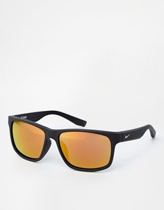 Sunglasses by Nike Chunky frames Moulded nose pads for added comfort Mirrored tinted lenses Branded arms with curved temple tips for a secure fit Total UV Protection
