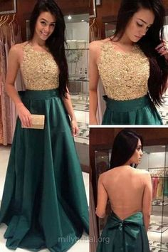Green Prom Dresses,A-line Long Formal Dresses, Scoop Neck Silk-like Satin Party Dresses,Sweep Train Lace Evening Gowns