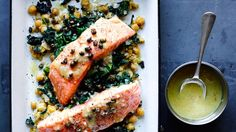 Slow-Cooked Salmon, Chickpeas, and Greens Recipe | Bon Appetit