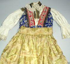 ANTIQUE Czech Folk Costume embroidered blouse silk vest skirt brocade apron KROJ