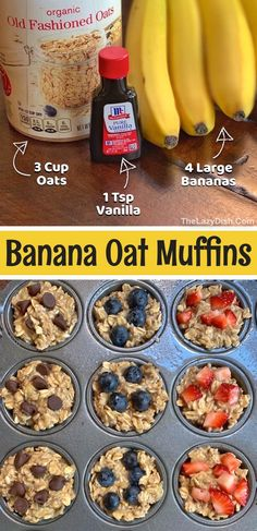 Baby Food Recipes, Cooking Recipes, Healthy Recipes, Easy Recipes, Ripe Banana Recipes Healthy, Oat Muffins Healthy, Clean Eating Muffins, Clean Eating Desserts, Cheap Clean Eating