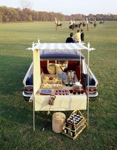 i want to tailgate with this station wagon! and how great is that cup and bottle carrier on the ground!