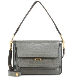 Marni - Trunk embossed leather shoulder bag - Clean cut: Marni's Trunk leather…