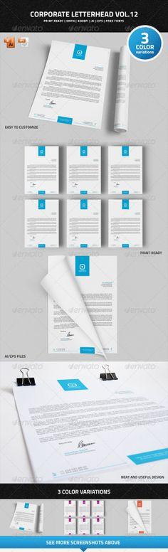 Corporate Letterhead Vol.12 #letterhead #corporate #graphicriver #business #psdtemplate #corporate #creative #printready #letterhead #elegant #original #personal  #simple #trendy #letter #a4 #blank #logo #stationary #word #identity