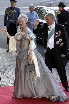 Queen Margrethe of Denmark and Prince Henrik arrive for the gala performance at the Royal Theatre in Copenhagen which is part of the pre-wedding celebrations on the eve of the wedding, May 13th; wedding of Crown Prince Frederik of Denmark and ms. Mary Donaldson, May 14th 2004