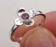 Amethyst gemstone solid Sterling Silver flower ring. UK size L. This is smallish, not L for large! Actual one shown. Flower diameter approx 10mm. | eBay!