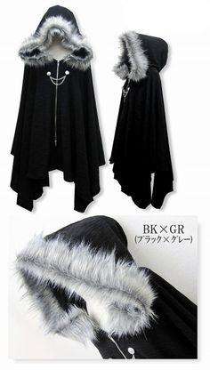 Harajuku Gothic Lolita Vampire Cloak Coat Hoodie Punk Jacket Shawl Cool Black #Q #NEW #Basic