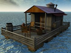 The Boathouse: a new definition to lakefront living! Floating Boat, Floating House, Shed To Tiny House, Tiny House Design, Wooden Boat Plans, Wooden Boats, Schwimmendes Boot, Cabana, Pontoon Houseboat