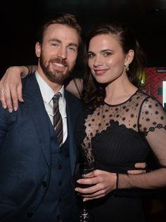 "Actors Chris Evans and Hayley Atwell attend the after party for Marvel's ""Captain America: The Winter Soldier"" premiere"