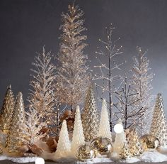 Pre-Lit Snowy Crystal Trees, Brown with White Crystals - Extra Large - Silver Christmas Decorations, Christmas Mantels, Noel Christmas, Christmas Centerpieces, Christmas Wreaths, Christmas Crafts, Pottery Barn Christmas, Christmas Villages, Victorian Christmas