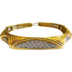 Vintage 14kt yellow gold pave diamond bangle bracelet from Cometiques Exclusively on Ruby Lane