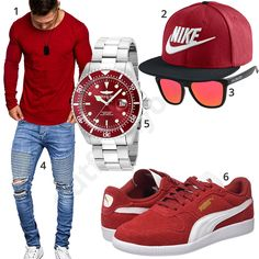 Rotes Herrenoutfit für den Sommer 2018 #puma #nike #jeans #rot #longsleeve #outfit #style #herrenmode #männermode #fashion #menswear #herren #männer #mode #menstyle #mensfashion #menswear #inspiration #cloth #ootd #herrenoutfit #männeroutfit