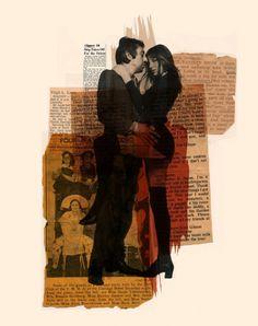Arian Behzadi's mixed-media collages. Serge Gainsbourg & Jane Birkin.     I LOVE MIXED MEDIA!
