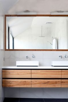 floating timber vanity