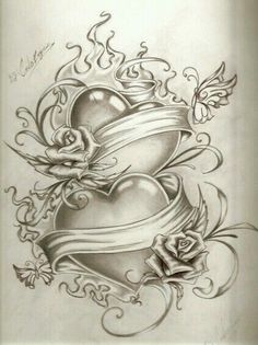 Rose Drawing Tattoo, Tattoo Design Drawings, Heart Tattoo Designs, Pencil Art Drawings, Tattoo Sketches, Dope Tattoos, Body Art Tattoos, Heart Coloring Pages, Hearts And Roses